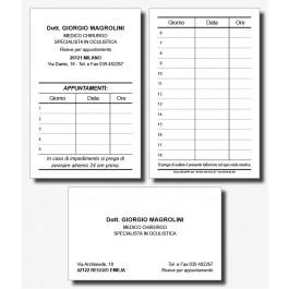 Cartoncini Appuntamenti e Biglietti da Visita Oculisti (mod. 1)
